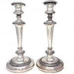 Pair of Old Sheffield Plate Candlesticks. Click for more information...