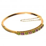 15ct Yellow Gold Bracelet Amethyst Peridot and Pearl. Click for more information...