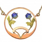 Art Nouveau 9ct 2 Tone Gold Opal Pendant. Click for more information...