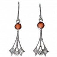 9ct White Gold Coral and Diamond Art Deco Earrings. Click for more information...