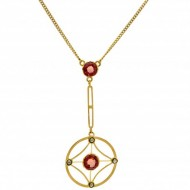 9ct Gold Art Nouveau Pink Tourmaline Pendant. Click for more information...