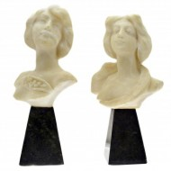 Pair of Art Nouveau Alabaster and Onyx Busts. Click for more information...