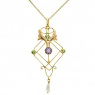 Suffragette 9ct Gold  Pink Tourmaline Necklace. Click for more information...