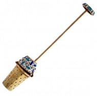 Russian 0.916 Silver Gold Washed and Enamelled Tea Infuser. Click for more information...