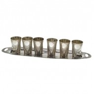 Russian Silver 6 Vodka Beakers and Tray. Click for more information...
