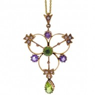 SUFFRAGETTE 18ct Gold Peridot Pearl Amethyst Pendant. Click for more information...