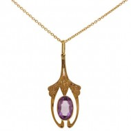 9ct Gold Art Nouveau Amethyst Pendant. Click for more information...
