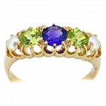 18ct Gold Ring Amethyst, Peridot and Seed Pearl. Click for more information...