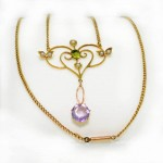 9ct Gold Necklace Amethyst, Peridot and Seed Pearl. Click for more information...