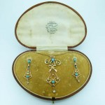 Art Nouveau Pearl & Turquoise Pendant Brooch & Hook Earring Set. Click for more information...