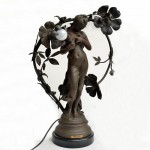 Art Nouveau Spelter Electric Light Titled NYMPH. Click for more information...