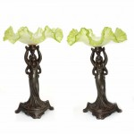 Pair of Art Nouveau Spelter and Art Glass Comports. Click for more information...