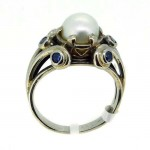 Art Deco 18ct White Gold Pearl & Six Blue Sapphires Ring. Click for more information...