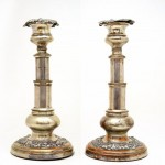 Pair of Old Sheffield Plate Telescopic Candle Sticks. Click for more information...
