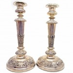 Pair of Sheffield Plate Candlesticks. Click for more information...