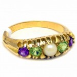 18ct GOLD Ring, Amethyst, Peridot, Pearl. Click for more information...