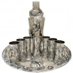 ZEEWO Chinese Sterling Silver Cocktail Shaker, Tray and Cup Set.. Click for more information...