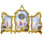 Gilded Viennese Enamel Folding Triptych Miniature Clock. Click for more information...